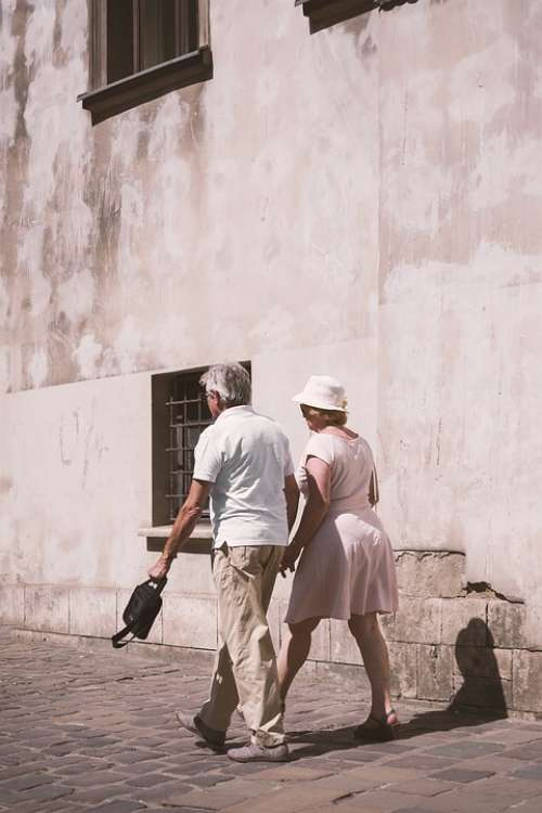 Old Couple Marriage Old Man Clearly Spacer Wall
