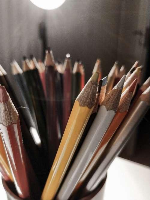Pencils Colours Light Art