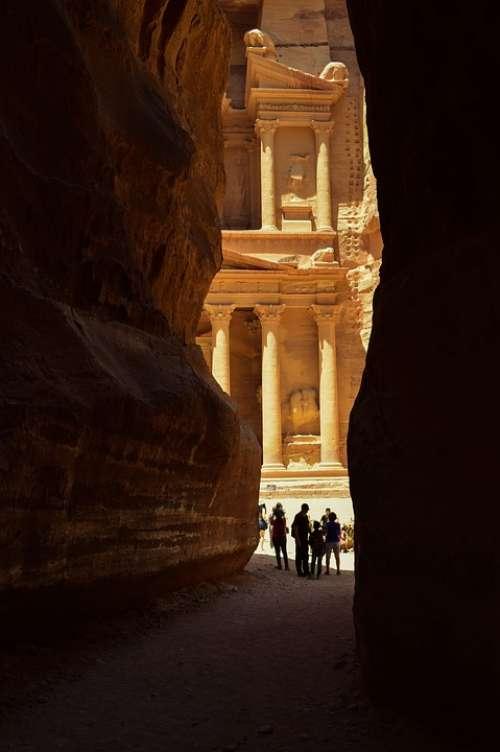 Petra Jordan Canyon Architecture Landmark Desert