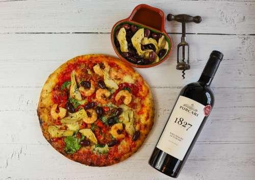 Pizza Wine Dinner Food Fresh Italian Healthy
