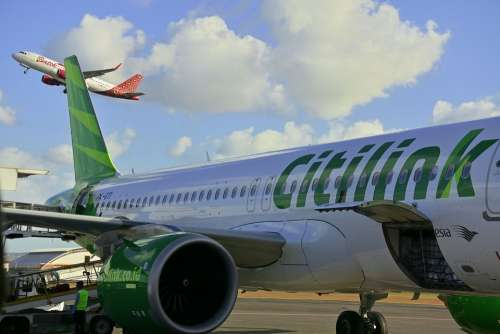 Plane Citilink Indonesia Airport Flight Airplane