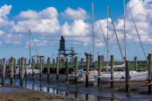 Port Wadden Sea Sailing Boat Lighthouse Ebb