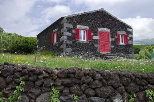Portugal Azores Islands Faial Traditional House
