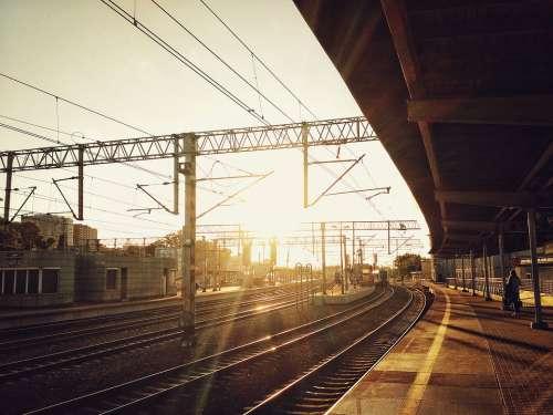 Railway Railroad Rails Transportation Tracks