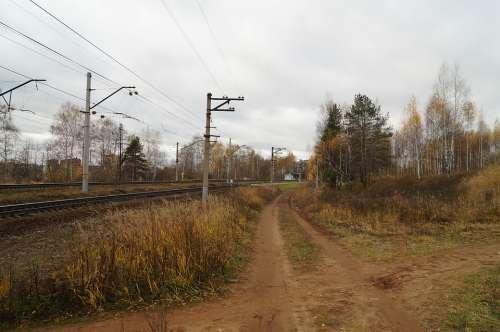 Railway Autumn Pillars Landscape Train Transport