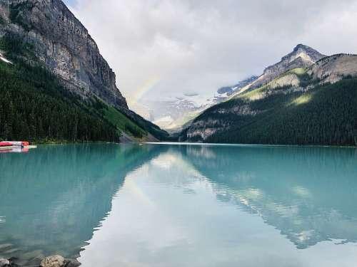 Rainbow Lake Louise Canada Banff Landscape Nature