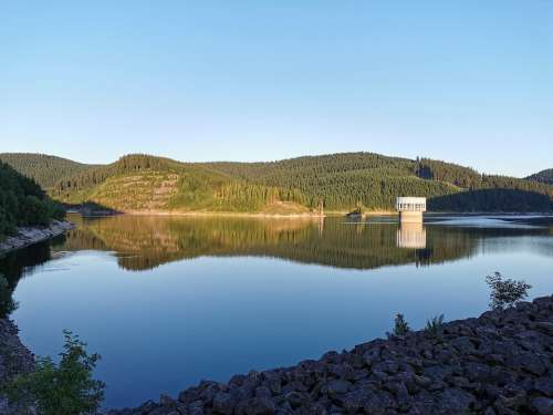 Reservoir Lake Water Sky Mirroring