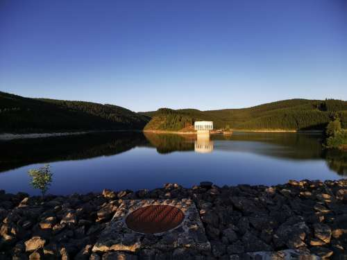 Reservoir Lake Water Mirroring Long Exposure Sky