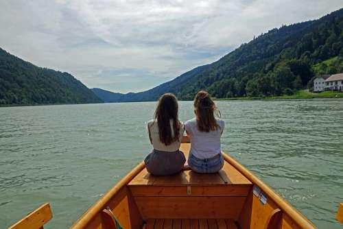 River Danube Boat Wooden Boat Girls Landscape