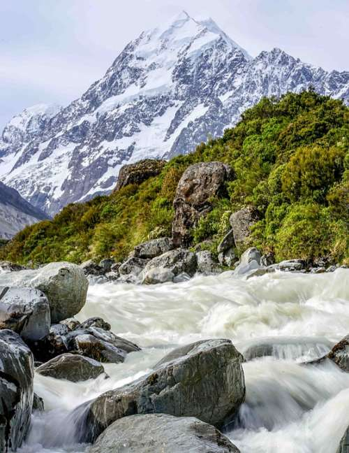River Torrent Motion Snowy Mountain Stream Water