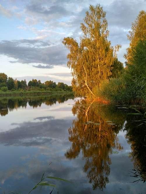 River Sunset Landscape Nature Water Sky Twilight