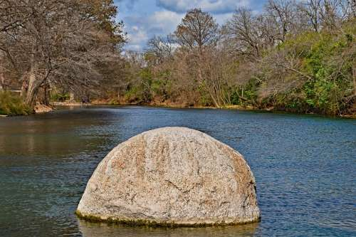 River Waterscape Scenic Rock Trees Water Outdoor