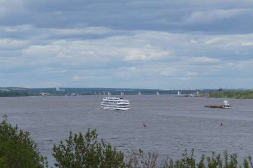 River Beach Ship Steamer Landscape Reflection