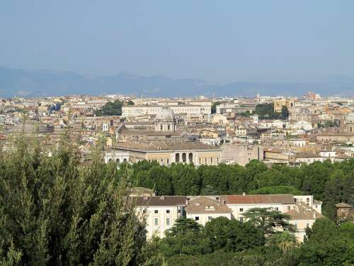 Rome Panorama City View Italy Tourism Building