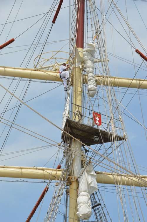 Rope Square Sails Mast Rigging Poles