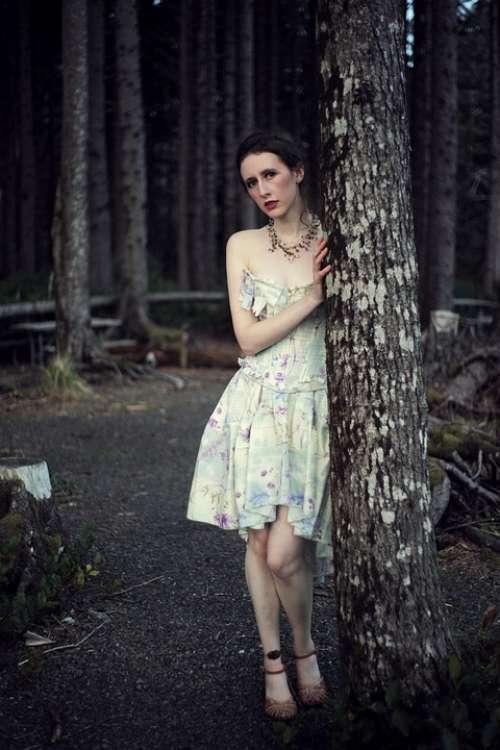 Scared Woman Dark Woods Dark Forest Dusk