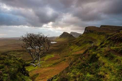 Scotland Isle Of Skye Quiraing Nature Sky Bush