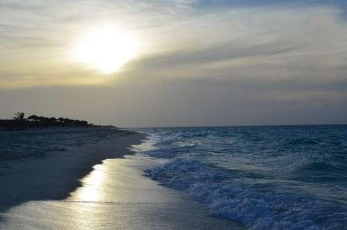 Sea Caribbean Sun Sky Cuba Flag Clouds Sunset