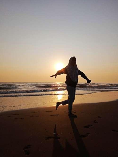 Sea Wave Sunset Holiday Happy Sun Nature Sky