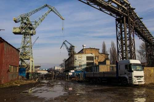 Shipyard Dockyard Crane Truck Lorry Industry Port