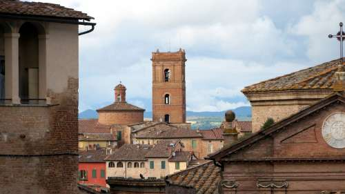 Siena Italy Europe Sky Roofs Brick Tower Old