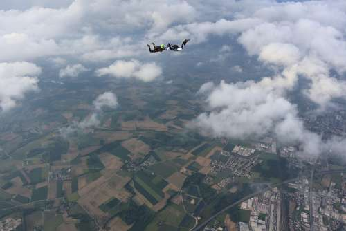 Skydiving Freefall Clouds Bird'S Eye View