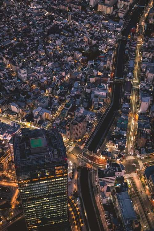 Skyline Night Big City Metropolis Tokyo City