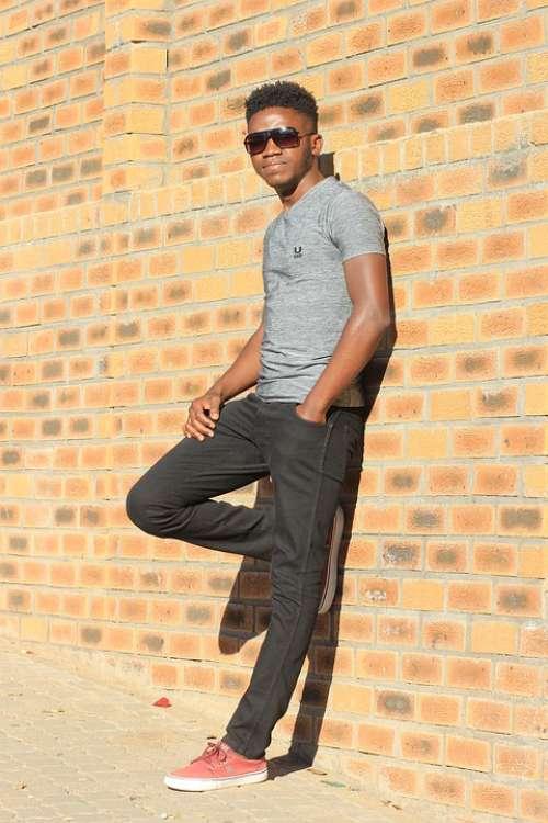 Slim Fit T-Shirt Model Young Man Fashion Hair