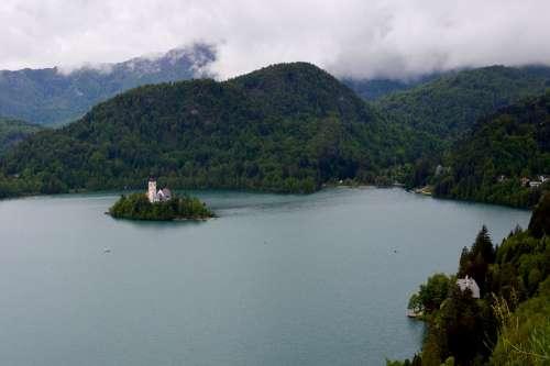 Slovenia Lake Bled Church Water Travel Castle