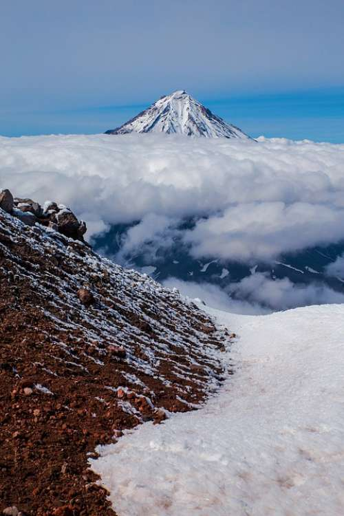 Snow Mountain Nature Sky Landscape Volcano Cloud