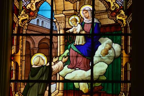 Stained Glass Colorful Window Church Religion