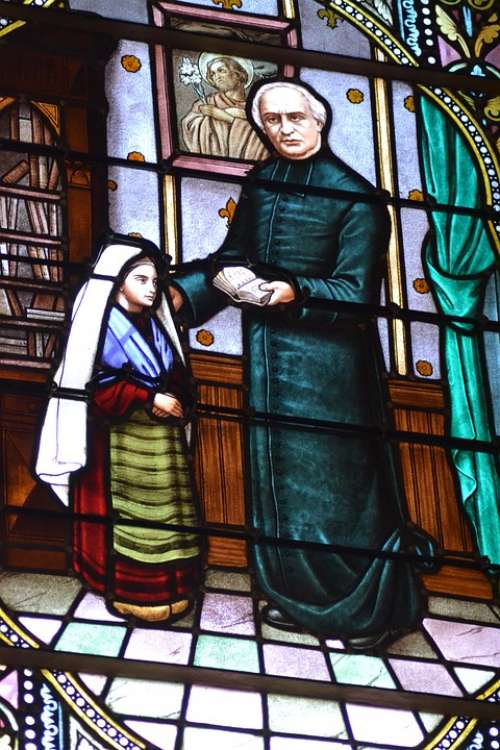 Stained Glass Window Heavy Abbot Bernadette Sainte