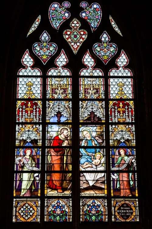 Stained Glass Window Glass Birth Jesus Maria