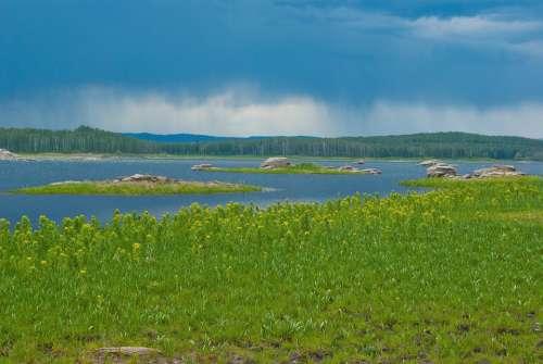Summer Lake Water Landscape Nature