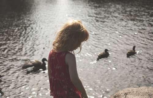 Summer Girl Red Hair Ducks Female Child Outdoor