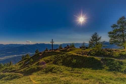 Summit Alm Mountains Sun Hiking Sky Summer