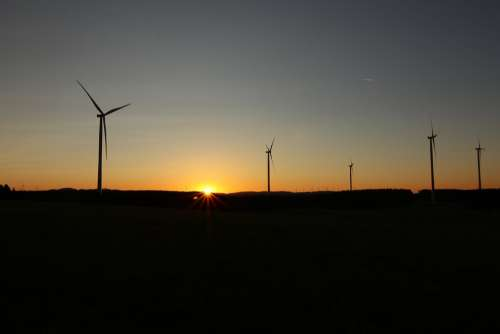 Sunrise Dazzling Star Wind Turbines Mood Landscape