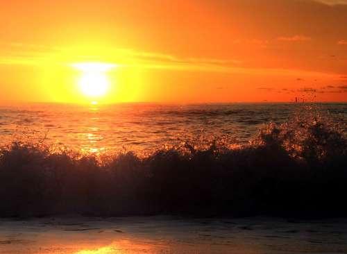 Sunrise Ocean Waves Water Sky Red Sun