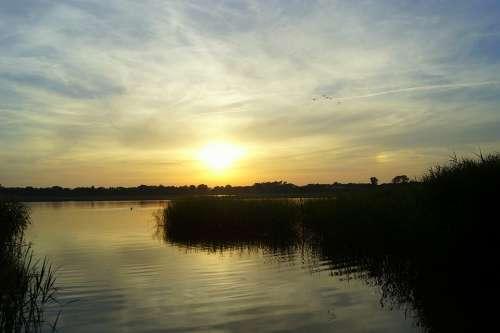 Sunset Lake Abendstimmung Reflections Mirroring
