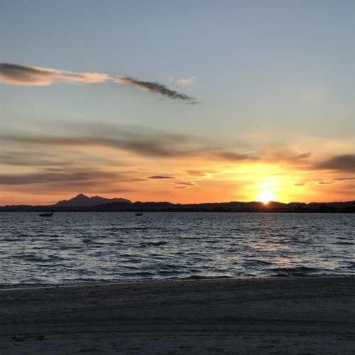 Sunset Romantic Sea Water Ocean Twilight Sky