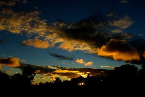 Sunset Sky Clouds Landscape Nature Light Sun