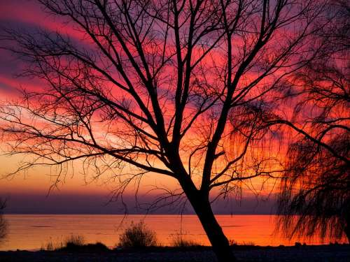 Sunset Romantic Sky Red Orange Landscape Lake