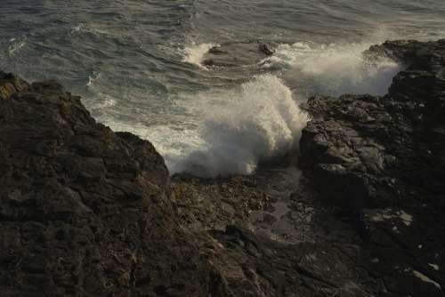 Surf Ocean Cliff Crash Turbulence Wave Sea Water