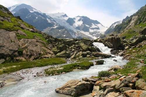 Susten Switzerland Mountains Water Grass Snow