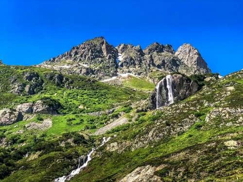 Switzerland Waterfall Water Mountains River