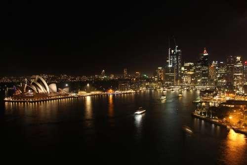 Sydney Opera House Bridge Night Skyline