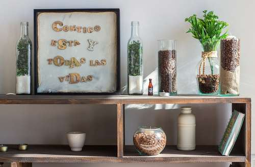 Table Plant Coffee Bottles Ornaments House