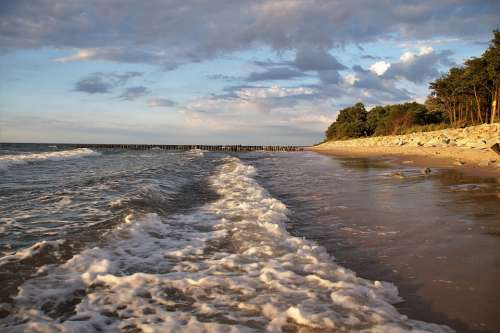 The Baltic Sea Waves The Influx Of Coast Beach