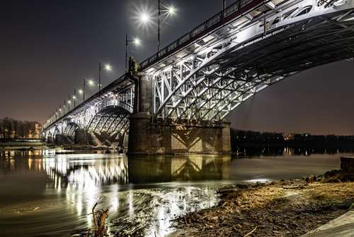 The Poniatowski Bridge Warsaw Wisla River Night