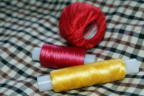 Thread Yarn Tangle Yellow Pink Raspberry Red